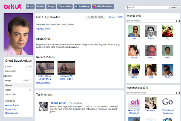 A screenshot of the defunct Orkut Social Network