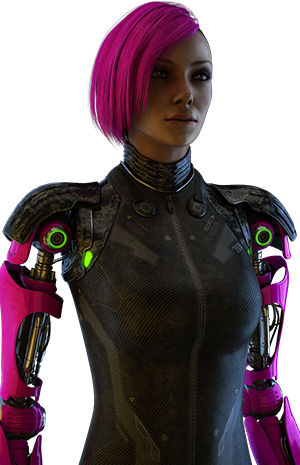 A young woman with pink hair,     with pink robotic arms.